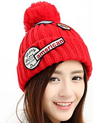 cheap -Men And Women Patch  Embroidery Winter Couples Knit Warm Wool Cap