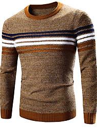 preiswerte -Herren Standard Pullover-Lässig/Alltäglich Aktiv Solide Einfarbig Blau Gelb Rundhalsausschnitt Langarm Baumwolle Polyester Frühling Mittel
