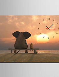 cheap -E-HOME® Elephants Watching the Sunset Clock in Canvas 1pcs High Quality