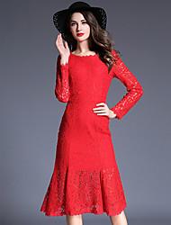 Fodero Vestito Da donna-Casual Moda città Tinta unita / Con stampe Rotonda Al ginocchio Manica lunga Rosso / Nero Cotone / Poliestere