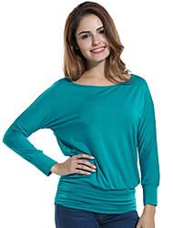 Tee-shirt Femme,Couleur Pleine Décontracté / Quotidien simple / Chic de Rue Printemps / Automne Manches Longues Col ArrondiBleu / Beige /