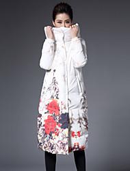 Feminino Casaco Capa,Sofisticado Floral Casual / Tamanhos Grandes-Poliéster Penas de Pato Branco Manga Longa Com Capuz Branco