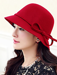 cheap -Women Vintage Casual Woolen Solid color bow Dome Jazz Big Brimmed Hat