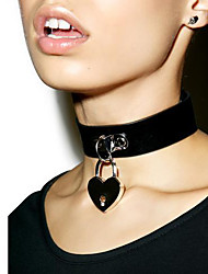 cheap -Women Exaggerated Punk Style Leather Necklace Metal Concentric Lock Collar Short Necklace Collar Vintage Choker 1pc