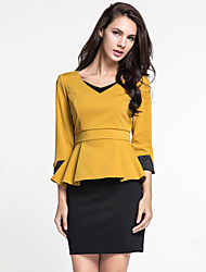 MARCOBOR Women's Casual/Daily Simple Fall Skirt Suits,Solid V Neck ¾ Sleeve Red / Yellow Polyester