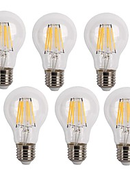 cheap -KWB 6pcs 600 lm E26/E27 LED Filament Bulbs A60(A19) 6 leds COB Decorative Warm White Cold White AC 220-240V
