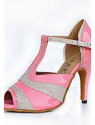 cheap -Women's Latin PU Glitter Heel Indoor Buckle Splicing Black Pink Customizable