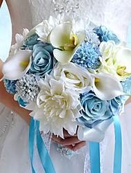 Wedding Flowers Round Roses Peonies Bouquets Wedding Party/ Evening Polyester Satin Taffeta Spandex Foam Dried Flower Rhinestone