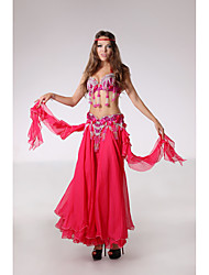 Belly Dance Outfits Women's Performance Polyester Beading Cascading Ruffle Crystals/Rhinestones 3 Pieces Sleeveless DroppedSkirt Bra Hip