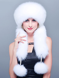 Women Faux Fur Warm Ski Hat  / Trapper Hat Solid Cute / Casual Winter Thick Black / White
