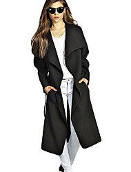 Women's Winter Coat Wide Lapel Belt Pocket Woolen Blend Coat Oversize Long Casual  Trench Coat Outwear Wool Coat