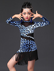 cheap -Latin Dance Dresses Children's Performance Milk Fiber Animal Print Long Sleeves Dress