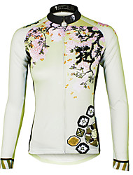 ILPALADINO Women s Long Sleeve Cycling Jersey Floral   Botanical Plus Size  Bike Jersey Top Breathable Quick Dry Ultraviolet Resistant Sports 100%  Polyester ... 6dcfc9ec9
