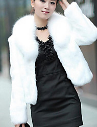 cheap -Women's Fur Coat - Solid Color, Modern Style