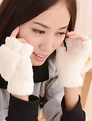 cheap -Women's Knitwear Pure Colour Removable Lamb Fur Fingertips Wrist Length Cute Winter Gloves