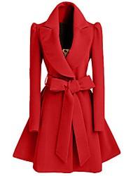 Damen Solide Einfach Ausgehen / Lässig/Alltäglich Mantel,Winter V-Ausschnitt Langarm Rot / Schwarz Mittel Polyester
