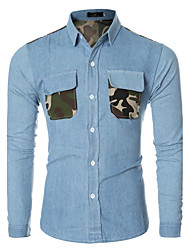 Men's Casual/Daily Simple Spring / Fall ShirtSolid / Patchwork Shirt Collar Long Sleeve Blue Cotton Medium hot sale