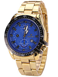 Men's Wrist watch Calendar Quartz Alloy Band Cool Casual Gold