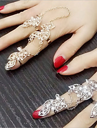 cheap -1Pcs Fashion Fan Exaggerated Personality Set Auger Leaves The New Suit Ring