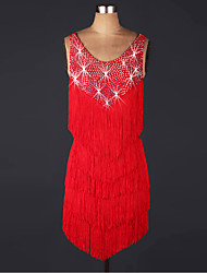 cheap -Shall We Latin Dance Dresses Women Performance Organza Beading Dress