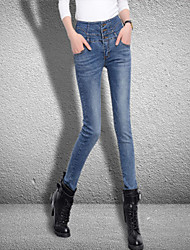 Women's Skinny Jeans Pants,Casual/Daily Simple Solid High Rise Button Cotton / Spandex Micro-elastic Spring / Fall