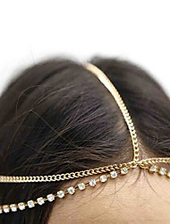 cheap -Women Bohemian Crystal Tassel Gold Silver Color Metal Chain Hair Bands With Multi Layered Hair Accessories