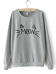 cheap -Women's Letter Black / Gray Hoodies , Casual Round Neck Long Sleeve