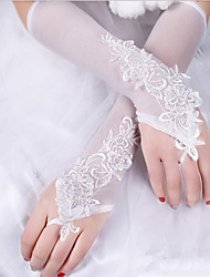 cheap -Lace Cotton Wrist Length Elbow Length Glove Charm Stylish Bridal Gloves With Embroidery Solid