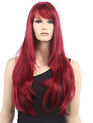 cheap -80cm Long Straight Synthetic Wig Wine Red Synthetic Hair Wig Highlighted Heat Resistant Cosplay Wigs