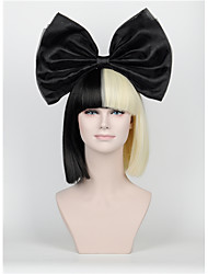 cheap -Synthetic Wig New Short Hair Bow Set Long Bangs Half Black Half Blonde Sia Styling Party Wigs High-end mesh black Big bow