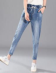 cheap -Women's Harem Jeans Pants - Solid, Patchwork