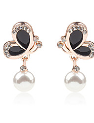 cheap -Women Korean New Oil Painting Pearl Crystal Earrings Black White Butterfly Earrings 1pair