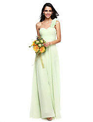 cheap -A-Line One Shoulder Floor Length Chiffon Bridesmaid Dress with Flower Ruched Criss Cross by LAN TING BRIDE®