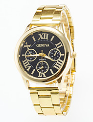 Men's Causal Fashion Gold Wrist Watch Stainless Steel Band Geneva Quartz Women Watch Of Four Rome's number Dial