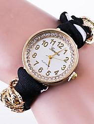 Mulheres Relógio de Moda Bracele Relógio Quartzo / Tecido Banda Pontos Flor Casual Preta Branco Vermelho Rosa Azul Marinho RoseAzul