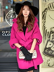 DABUWAWA® Women's Going out / Casual/Daily / Holiday Cute / Street chic / Sophisticated CoatSolid Notch Lapel  Length Sleeve Fall / Winter
