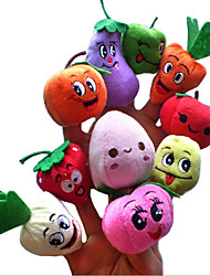 abordables -Marionnettes de Doigt Animaux en Peluche Légumes Fruit Nouveautés Pluche Fille Cadeau