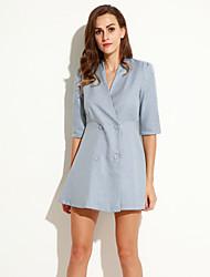 cheap -Women's V Neck Button Mini Dress , Linen Gray Vintage/Casual/Work