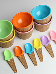 cheap -Children's Plastic Ice Cream Bowls Spoons Set Durable ICE Cream CUP (Random Color)