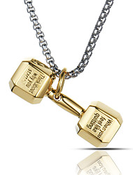 cheap -Punk Style Pendant Charm Necklace 316L Stainless Steel Retro Dumbbell Shape Sport Boxing Jewelry