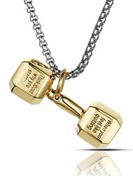 Недорогие -панк-стиль кулон ожерелье шарма нержавеющей стали 316l ретро форма гантелей спорт бокс ювелирных изделий
