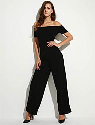 Women's Off The Shoulder|Wide Leg Solid Backless Off Shoulder Wide Leg Jumpsuits,Sexy Boat Neck Short Sleeve