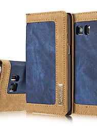 Недорогие -Кейс для Назначение SSamsung Galaxy Samsung Galaxy S7 Edge Кошелек / Бумажник для карт / со стендом Чехол Однотонный Твердый текстильный для S7 edge / S7 / S6 edge