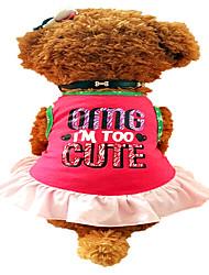 Chien Robe Vêtements pour Chien Mignon Lettre et chiffre Rouge Rose Costume Pour les animaux domestiques