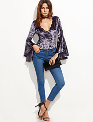 Women's Slim RompersCasual/Daily / Club Sexy / Street chic Solid All Match Velvet Deep V Long Flare Sleeve Mid Rise Micro-elastic