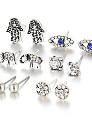 cheap -Women's Crystal / Synthetic Sapphire Stud Earrings - Silver Plated Silver For Wedding / Party / Daily / Casual