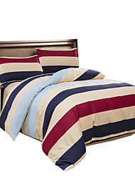 Mingjie Coffee Stripes Bedding Sets 4PCS for Twin Full QueenSize from China Contian 1 Duvet Cover 1 Flatsheet 2 Pillowcases