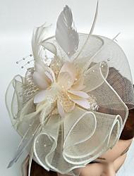 abordables -tocado de plumas de tul tocado estilo femenino clásico