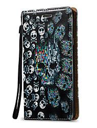 preiswerte -Hülle Für Samsung Galaxy Geldbeutel / Kreditkartenfächer / Flipbare Hülle Ganzkörper-Gehäuse Totenkopf Motiv Hart PU-Leder für Note 5 / Note 4 / Note 3