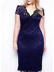 cheap -Women's Plus Size Going out Sophisticated Slim Bodycon / Lace Dress - Solid Colored V Neck